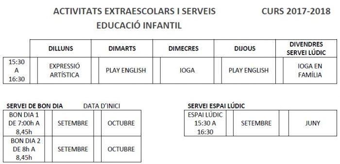 Horaris Infantil 2017-2018